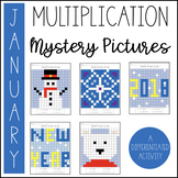 January Multiplication Mystery Picture (January Activities)