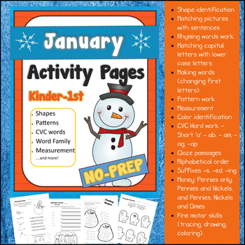 January NO PREP Activity Pages for Kindergarten & 1st Grade (Winter Themed)