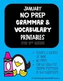 January NO PREP Grammar and Vocabulary Printables- Second Grade
