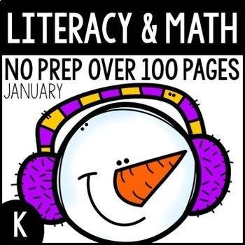 January NO PREP Kindergarten Packet-OVER 100 PAGES!