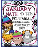 January NO PREP Math Fun Printables  Common Core MAFS Envision PACKET