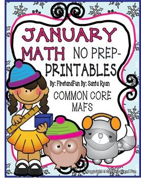 January NO PREP Math Fun Printables  Common Core MAFS Envi