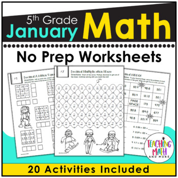 January NO PREP Math Packet - 5th Grade by Kelly McCown | TpT