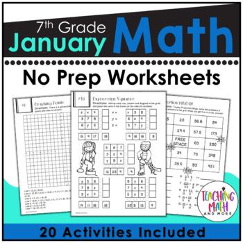 January NO PREP Math Packet - 7th Grade