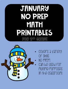 January NO PREP Math Printables Second Grade