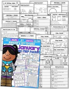 January NO PREP Math and Literacy (2nd Grade)