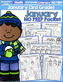 January NO PREP Math and Literacy (3rd Grade)