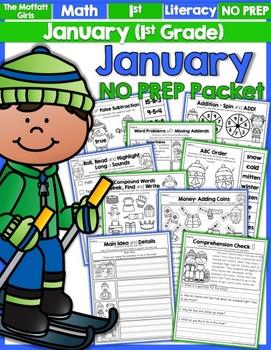 January NO PREP Math and Literacy (1st Grade)