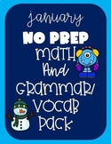 January NO PREP Printables- Math, Grammar & Vocab Second Grade