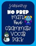 January NO PREP Printables- Math, Grammar & Vocab Second Grade