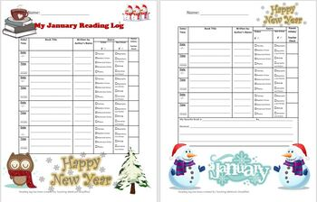 January New Year Themed Reading Log that Reinforces Literary Elements