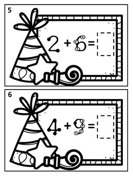 January New Year Touch Math Addition Task Cards: Single Digit