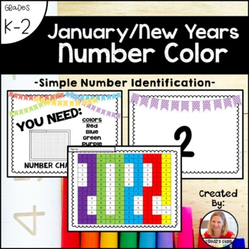January New Years Number Color (Number Recognition and Identification)