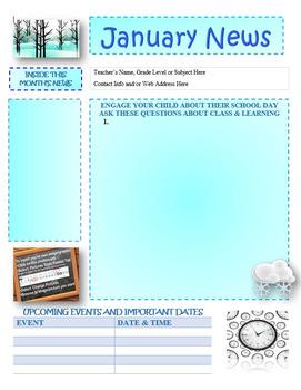 January Newsletter Editable Template