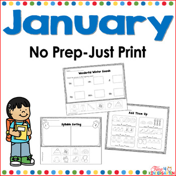 January No Prep Just Print Math and Literacy for Kindergarten