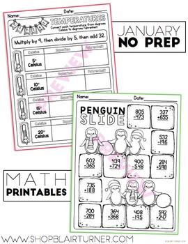 January NO PREP Math Printables