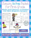 January No Prep Math and Literacy Packet for First Grade (Common Core)