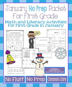 January No Prep Math and Literacy Packet for First Grade (