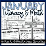 January Literacy & Math No Prep Printables