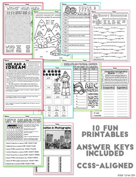January NO PREP Printables: Math and Literacy BUNDLE