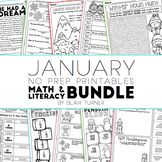 January NO PREP Printables: Math and Literacy BUNDLE