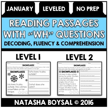 """January Reading Comprehension Passages with """"WH"""" Questions (leveled)"""