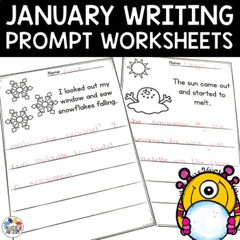 January No Prep Writing Prompt Worksheets