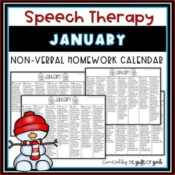 January Non-Verbal Homework Calendar
