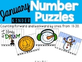 January Number Puzzles {Counting Backwards & Forwards 11-30}