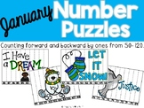 January Number Puzzles {Counting Backwards & Forwards 50-120}