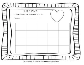 February Numbers 1 - 20