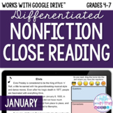 January ONLINE Differentiated Nonfiction Close Reading Texts and Questions