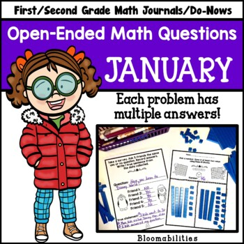 January Open-Ended Math Questions for Journals or Do-Nows (First Grade)