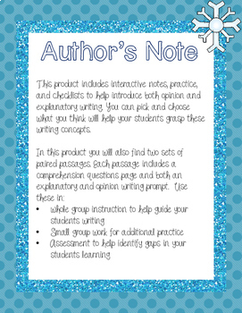 Winter Paired Passages with Writing Prompts & Teaching Tools
