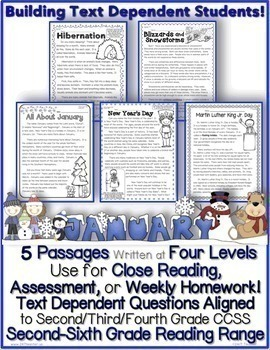 January Passages w/ CCSS Text Based Questions Close Readin