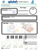 January Themed Piano Lesson Assignment Sheet