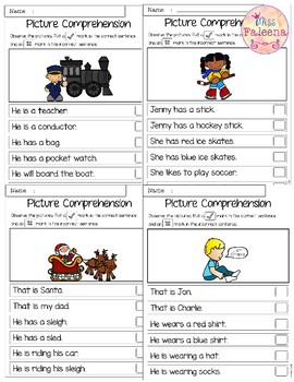 December Picture Comprehension Cards and Worksheets