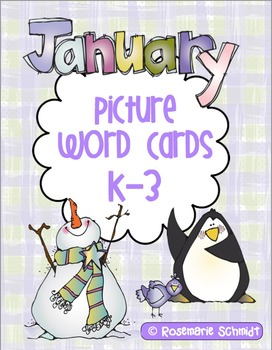 January Picture Word Cards K-3