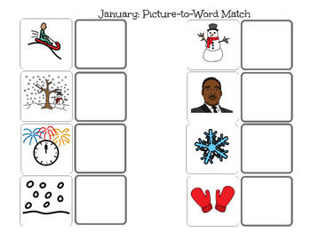 January Picture and Word Match