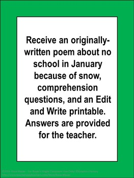 January Poem and Reading Comprehension