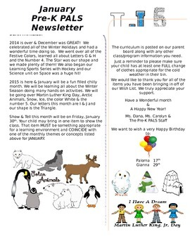 January Pre-K Newsletter