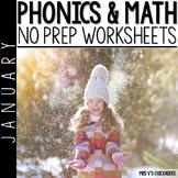 January No Prep Phonics and Math Worksheets for Kindergarten