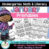 January NO PREP - Math & Literacy Printables (Kindergarten)