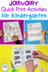 January Print - That's It! Kindergarten Math and Literacy Printables