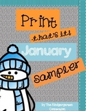 January Print - That's It! Kindergarten Math and Literacy Printables Sampler
