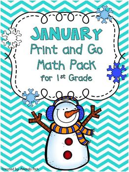 January Print and Go Math Pack for First Grade