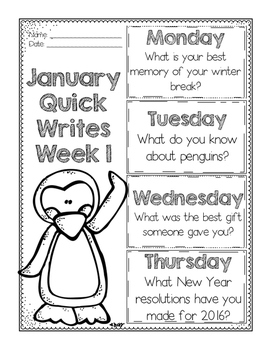January Quick Writes