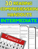 January Reading Comprehension Handouts + Answer keys