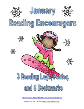 January Reading Encouragers - Reading Logs, Poster, and Bookmarks