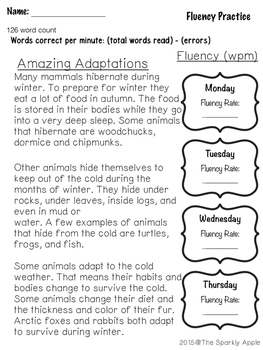 Winter Reading Fluency